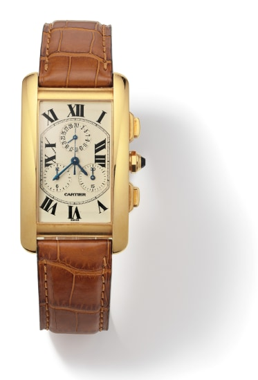A Gold and Leather 'Tank Américaine' Wristwatch