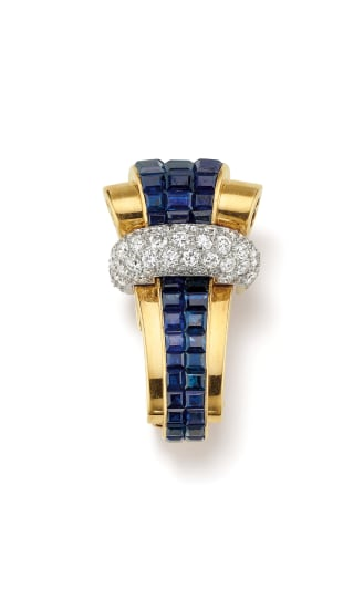 A Retro Sapphire, Diamond, Platinum and Gold Brooch
