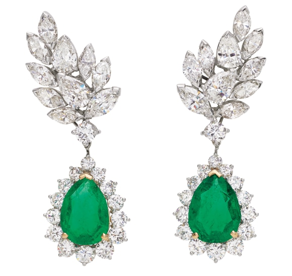 A Pair of Emerald, Diamond, Platinum and Gold Earrings