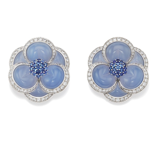 A Pair of Chalcedony, Diamond, Sapphire and Gold 'Blue Gardenia' Brooches