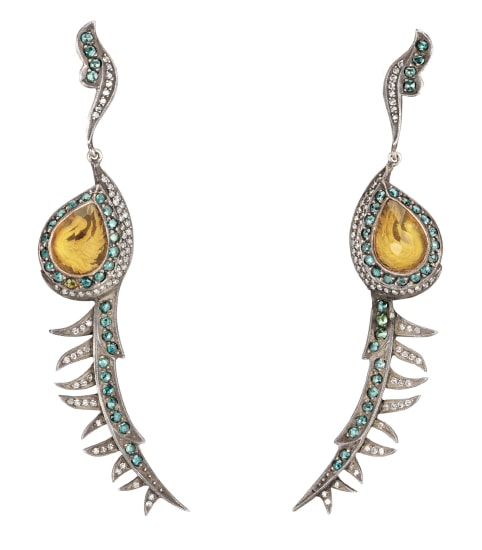 A Pair of Colored Diamond, Diamond, Citrine, Gold and Silver 'Pigeon' Earrings