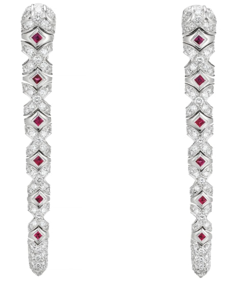 A Pair of Ruby, Diamond, Platinum and Gold Earrings