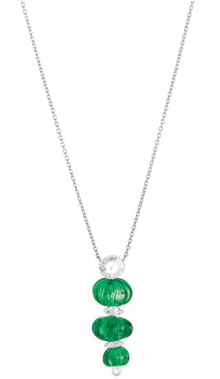 An Emerald, Diamond and Platinum Necklace