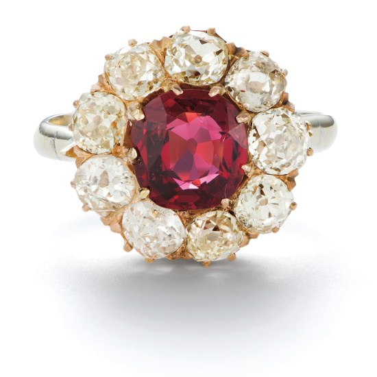 An Antique Spinel and Diamond Ring