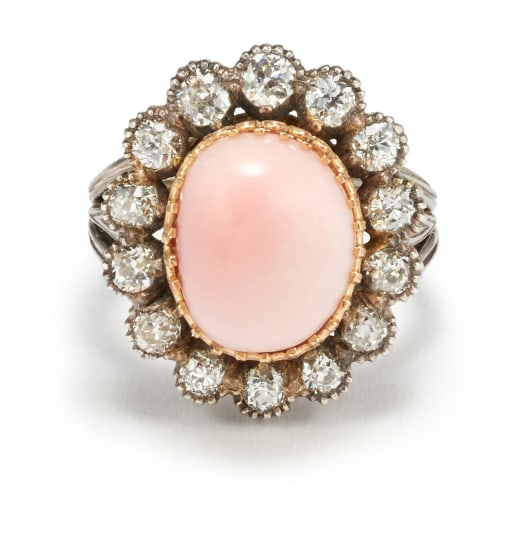 A Conch Pearl, Diamond and Gold Ring