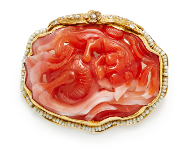 A Coral, Seed Pearl, Diamond and Gold Brooch