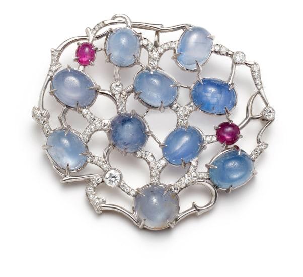A Star Sapphire, Star Ruby, Diamond and Platinum Brooch/Pendant