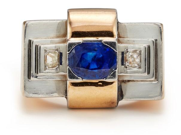 A Sapphire, Diamond, Platinum and Gold Ring