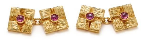 A Pair of Tourmaline and Gold Cufflinks
