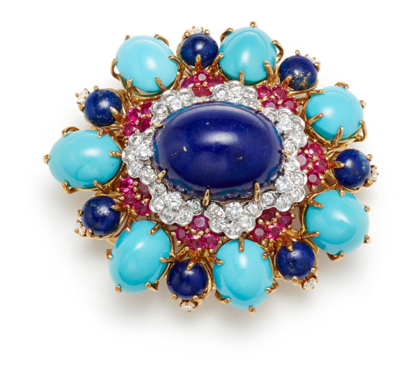 A Lapis Lazuli, Turquoise, Diamond, Ruby and Gold Brooch