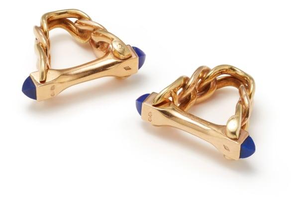 A Pair of Lapis Lazuli and Gold Cufflinks
