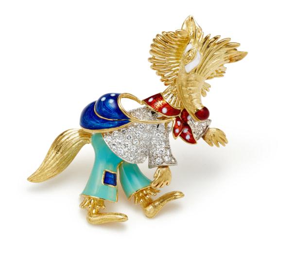 A Diamond, Enamel and Gold Brooch