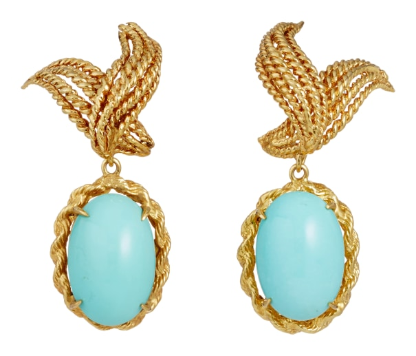 A Pair of Turquoise and Gold Earrings