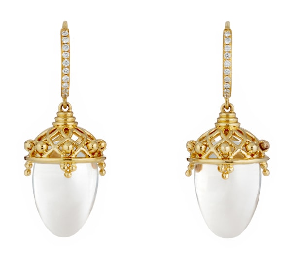 A Pair of Rock Crystal, Diamond and Gold 'Lantern' Earrings