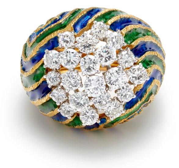 A Diamond, Enamel and Gold Ring