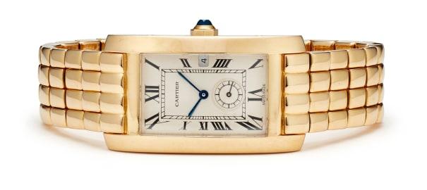 A Gold 'Tank Americaine' Wristwatch