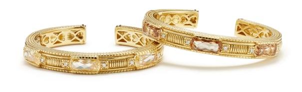 A Pair of Quartz, Diamond and Gold Bracelets