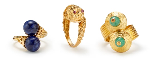 A Group of Gem-Set and Gold Rings