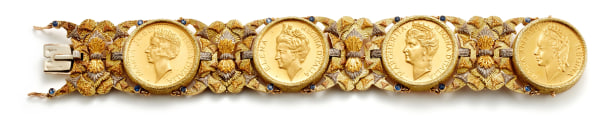 A Sapphire, Coin and Tricolored Gold Bracelet