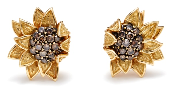 A Pair of Colored Diamond and Gold 'Sunflower' Earrings
