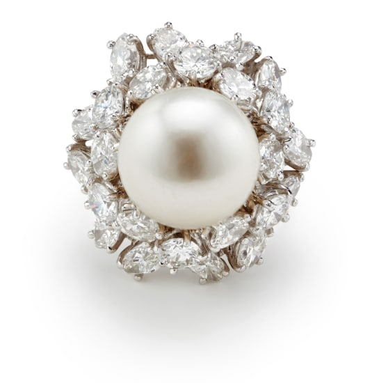 A South Sea Cultured Pearl, Diamond and Gold Ring