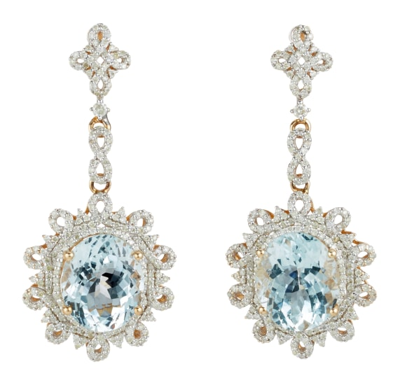 A Pair of Aquamarine, Diamond and Gold Earrings