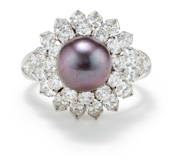 A Cultured Tahitian Pearl, Diamond and Gold Ring