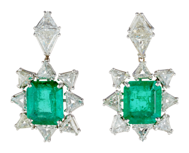A Pair of Emerald, Diamond and Platinum Earrings