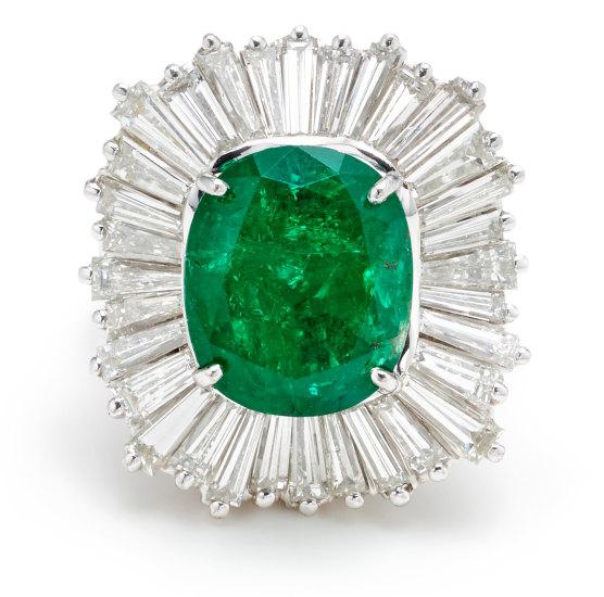 An Emerald, Diamond and Platinum Ring/Pendant