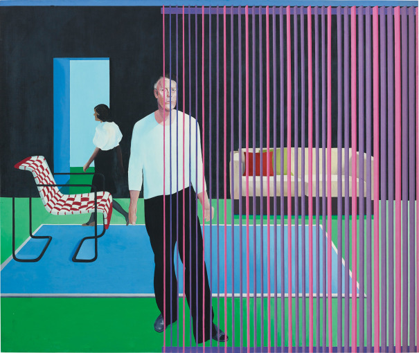 Two Figures Vertical Blind Red Chair and Green Floor