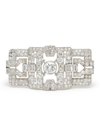 An Art Deco Diamond and Platinum-Topped Gold Brooch
