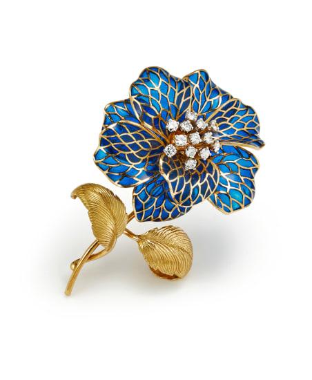 A Plique-à-Jour, Diamond, Platinum and Gold Brooch