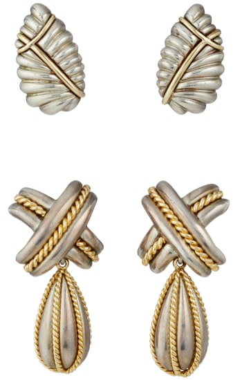 A Set of Gold and Silver Earrings