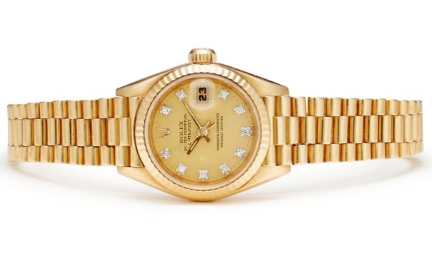 A Diamond and Gold 'Datejust' Wristwatch