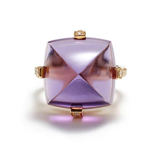 An Amethyst, Diamond and Gold 'Rock 'N Roll' Ring