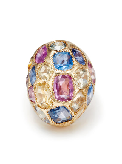 A Multi-Gemstone and Gold Ring