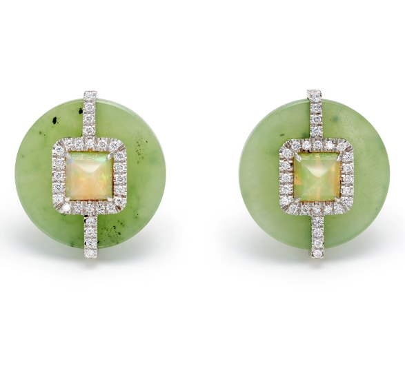 A Pair of Jade, Opal, Diamond and Gold Earrings