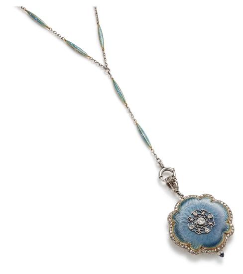 A Belle Époque Diamond, Enamel and Gold Pendant Watch