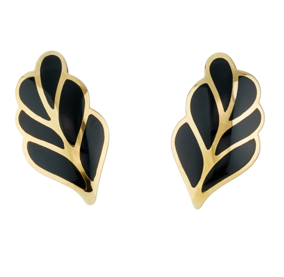 A Pair of Enamel and Gold Earrings