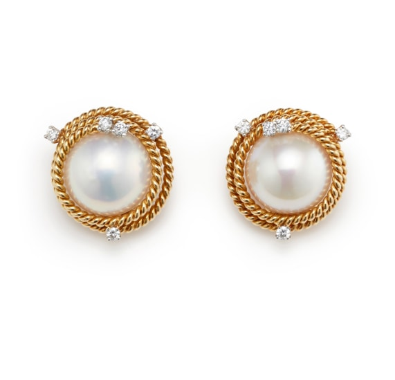 A Pair of Mabé Pearl, Diamond and Gold Earrings