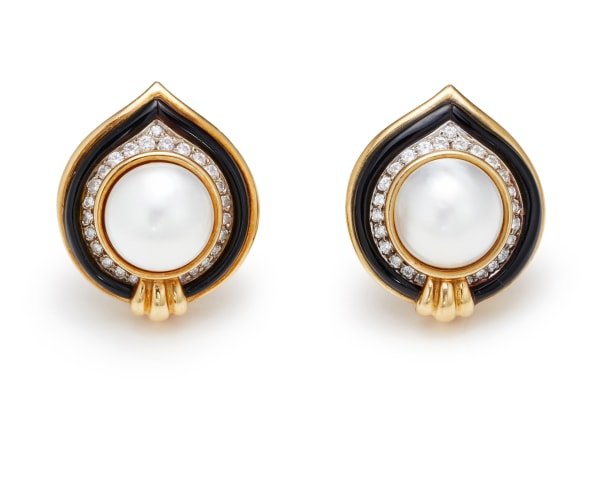 A Pair of Cultured Pearl, Diamond, Enamel and Gold Earrings