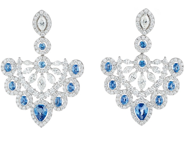 A Pair of Diamond, Sapphire and Gold Earrings