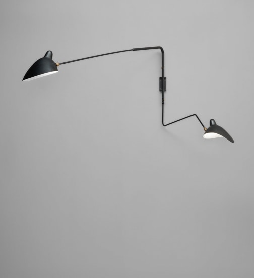 """Two-arm angled wall light with one """"Lampadaire"""" and one """"Casquette"""" shade"""