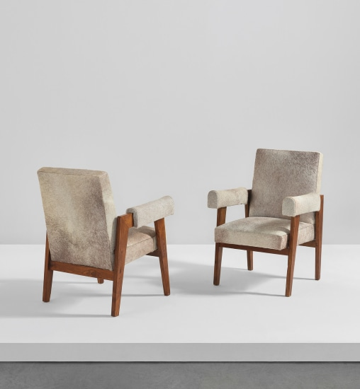 """Pair of """"Advocate and Press"""" armchairs, model no. LC/PJ-SI-41-A, designed for the High Court, Chandigarh"""