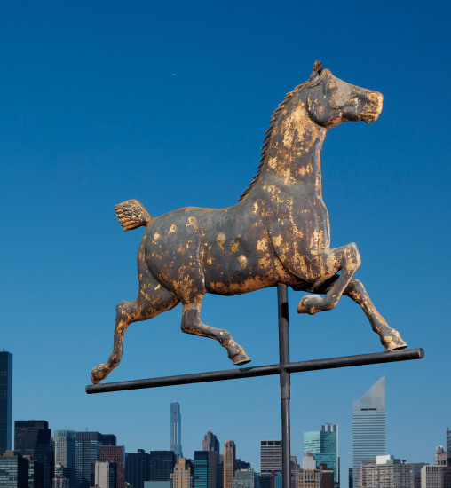 """A large full-bodied molded gilt copper """"Hackney"""" horse weathervane"""