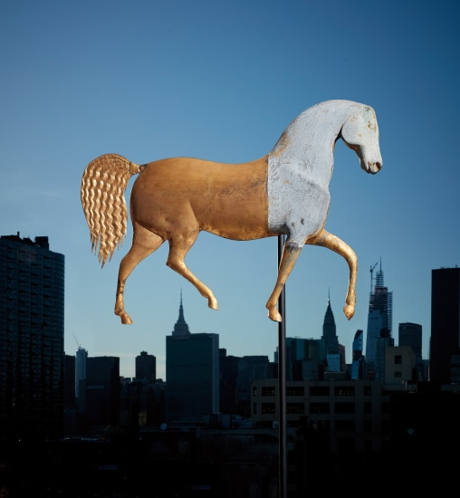 """A full-bodied molded gilt copper and zinc """"Index"""" horse weathervane"""
