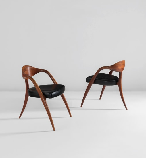 "Pair of ""three-legged"" chairs"