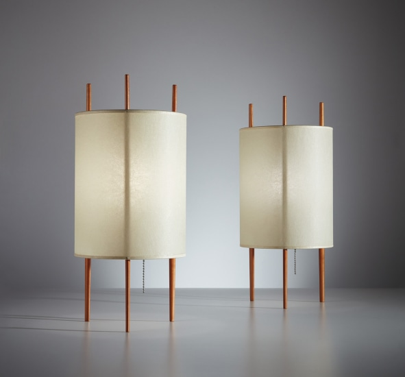 "Pair of ""Three-Legged Cylinder"" table lamps, model no. 9"