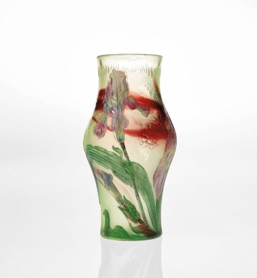 Baluster-form vase with irises