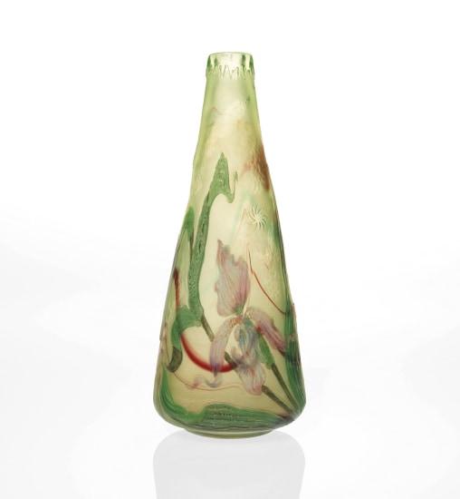 Beaker-form vase with irises
